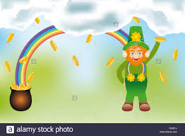 the gold of the leprechaun detailed illustration with rainbow