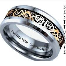 celtic mens wedding bands new boxed tungsten carbide gold celtic inlay mens wedding