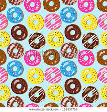 donut wrapping paper seamless pattern assorted donuts different toppings stock