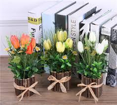 decorative floral arrangements home artificial rose flower arrangements vase artificial tulip plant