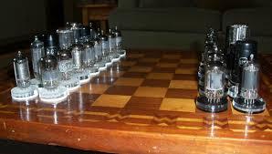 interesting chess sets handmade folk art chess set 1940 u0027s vaccum tubes u0026 antique parquet
