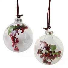 set of 2 clear glass christmas ball ornaments with red and