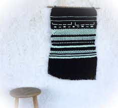 black and mint green weaving weaving wall hanging woven wall