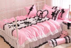 korean style black lace bedspread pink princess bedding set queen