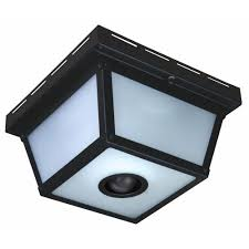 Hampton Bay Outdoor Light Fixtures by Hampton Bay 360 Square 4 Light Black Motion Sensing Outdoor Flush