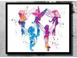 wall art disney shenra com watercolor art print tinkerbell fairies poster disney art peter