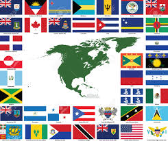 set of flags and maps of all north and central american countries