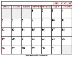 printable calendar 2018 august printable 2018 calendar august