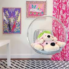Pink Curtains For Girls Room Modern Girls Room With Acrylic Bubble Hanging Chair By Helen Davis
