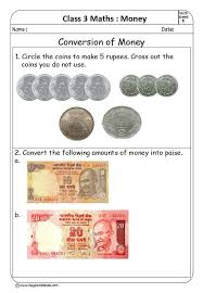 money for class 3 conversion of paise into rupees