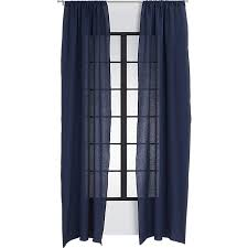 navy linen curtain panel cb2