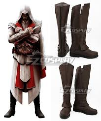 Ezio Halloween Costume Creed Ii Ezio Auditore Brown Shoes Cosplay Boots