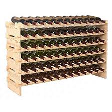 amazon com homcom 72 bottle solid wood wine storage display rack