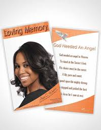 bifold order of service obituary template brochure peach simplicity
