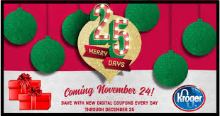 kroger 25 merry days promotion starts 11 24 17 cheaper with coupons
