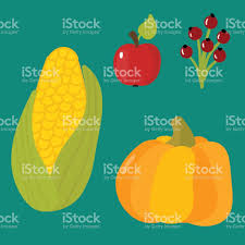 happy thanksgiving day symbols design objects fresh food