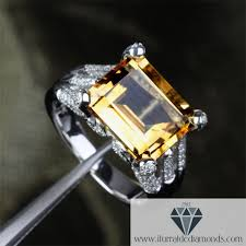 citrine engagement rings large emerald cut citrine frog finger diamond pave prongs
