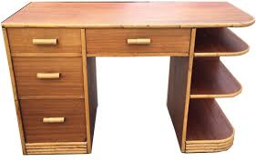 art deco style writing desk 1940 s vintage paul frankl style streamline tropical desk modernism
