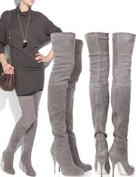 womens boots grey suede simple the knee boots high heels grey for winter