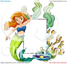 clipart of a happy mermaid frame royalty free vector