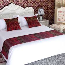 bed runners yazi ethnic style red flower double layer bed runner throw bedding