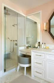 Pink Bathroom Vanity White And Pink Bathroom With Gray Vanity Stool Transitional