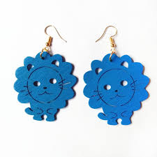 eco earrings new style carving wood lion design earrings handmade