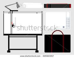 Drafting Table Tools Set Isolated Architect Tools Drafting Table Stock Vector 695983057