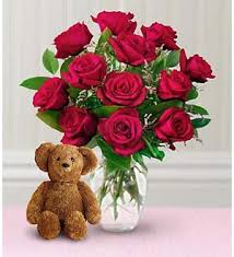 How Much Is A Dozen Roses Schnucks Florist And Gifts Dozen Roses With A Bear Saint Louis Mo