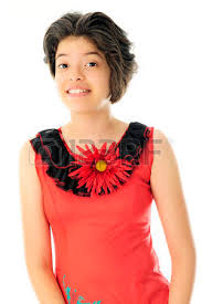 full length image of a beautiful young teen in her knit red and