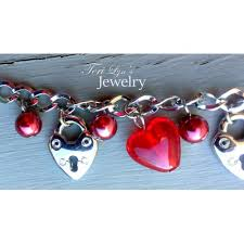 red chain necklace images Red heart lock handmade necklace jpg