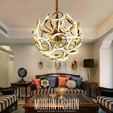 Office Chandelier Simple Creative Post Modern Led Chandelier Lighting Art Ball Gold