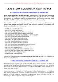 dlab study guide delta gear inc