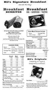 Toasters Menu Hil U0027s Burgers Menu