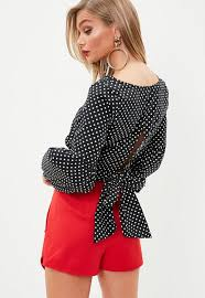 black polka dot blouse black polka dot balloon sleeve blouse missguided