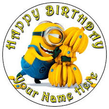 minions cake toppers minions banana party 7 5 personalised edible icing cake
