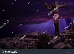 jesus christ on cross crucifixion on stock illustration 611941955