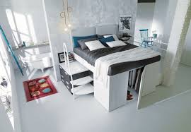 Elevated Bed Small Bedroom Space Saving Furniture For Small Living Space Midcityeast