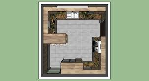 formica kitchen design with natural granite 3d model skp