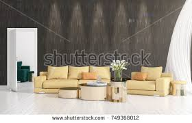 livingroom in zero gravity furniture hovering living room stock illustration