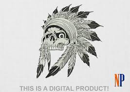 instant indian skull machine embroidery design