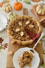 pumpkin pecan streusel pie with pecan piecrust home is where
