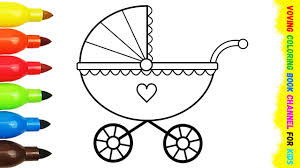 baby carriage colouring book kids learning coloring pages