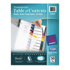 avery 15 tab table of contents color template ready index customizable table of contents plastic dividers 10 tab