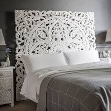 Carved Wood Headboard Boho Carved Wood Bed Headboard Handmade