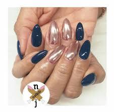 nails nails nails u2014 navy rose gold chrome nail art