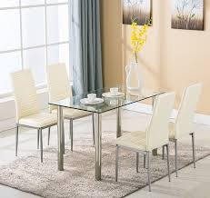 Dining Room Sets With Fabric Chairs by Amazon Com 5pc Glass Dining Table With 4 Chairs Set Glass Metal