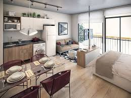 Mini Apartment Design Concept Completed With Bed And Small Sofa - Apartment design concept