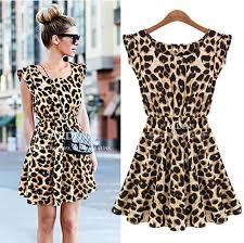 women casual dress leopard print microfiber summer dress
