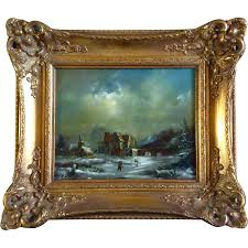 massop jr snowy town with ice skaters dutch oil painting on